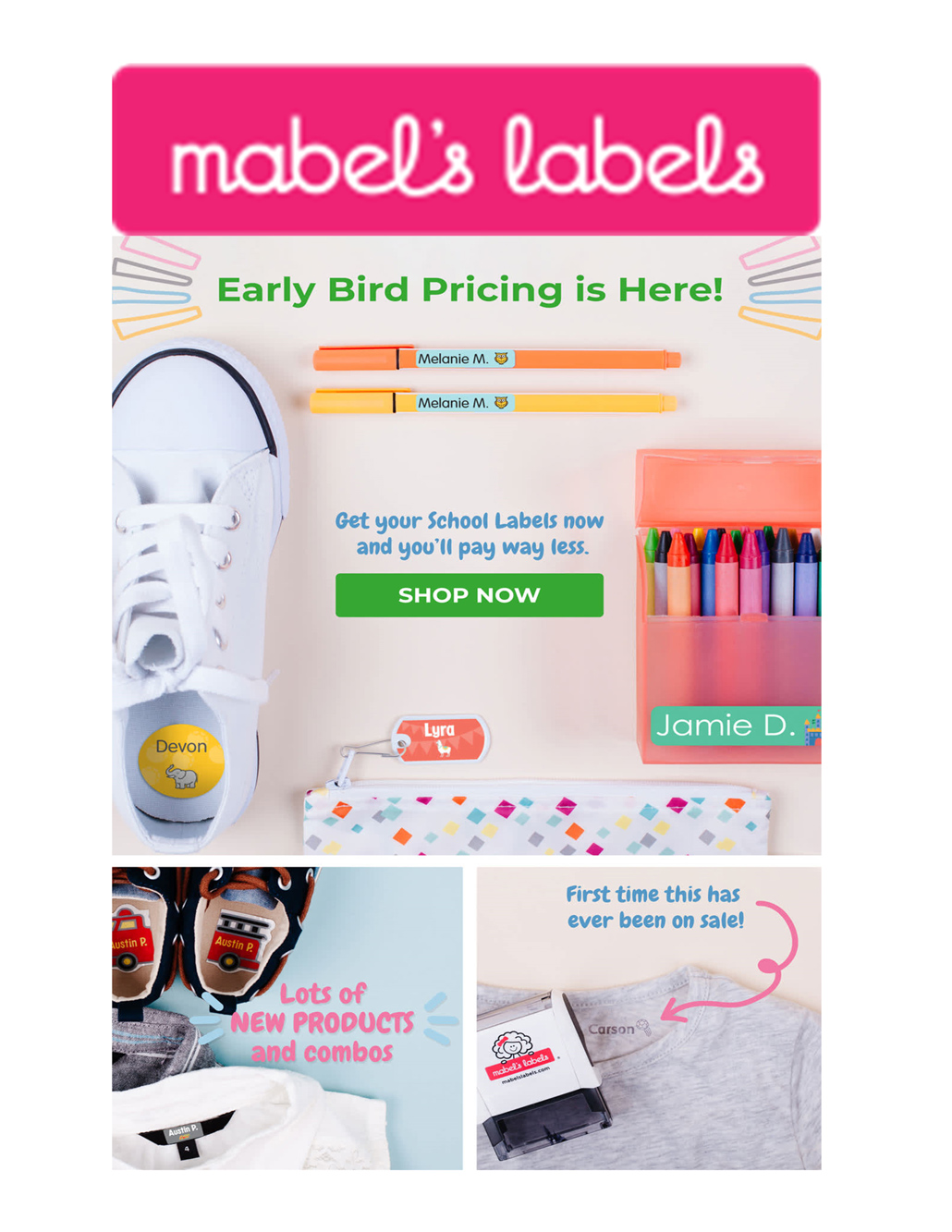 Early bird pricing for school labels from Mabel's Labels is on now. Visit http://mabelslabels.ca and select Cook's School as your fundraising support.